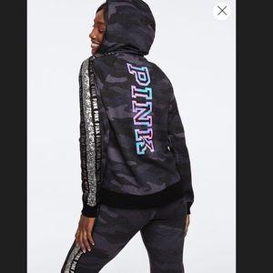 VS Pink logo bling camo full zip hoodie